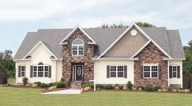 Builtmoore Modular home exterior with stone